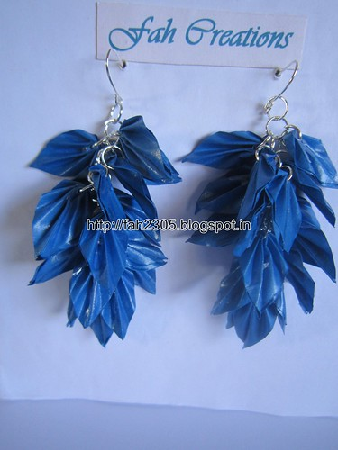 Handmade Jewelry - Origami Paper Leaves  Earrings (Blue) by fah2305
