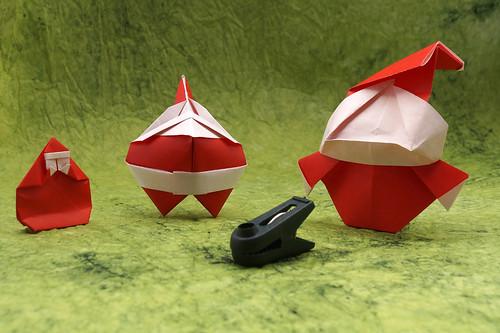 Origami Santa Claus (Takuji Sugimura) - Origami Santa Claus Ornament (Hideo Komatsu) - Origami Santa Claus (Chiyo Fukuoka)