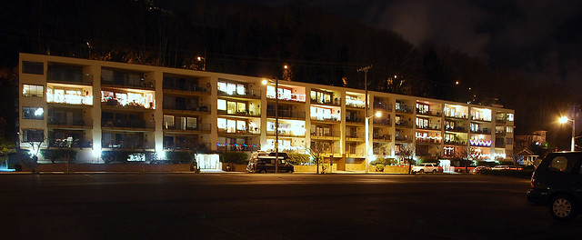 West Seattle Apartment Building at Night, 12.18.13