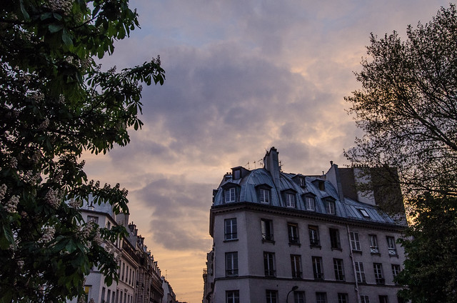 Paris rooftops at sunset