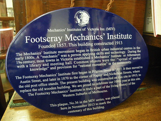 Photo of Footscray Mechanics' Institute blue plaque