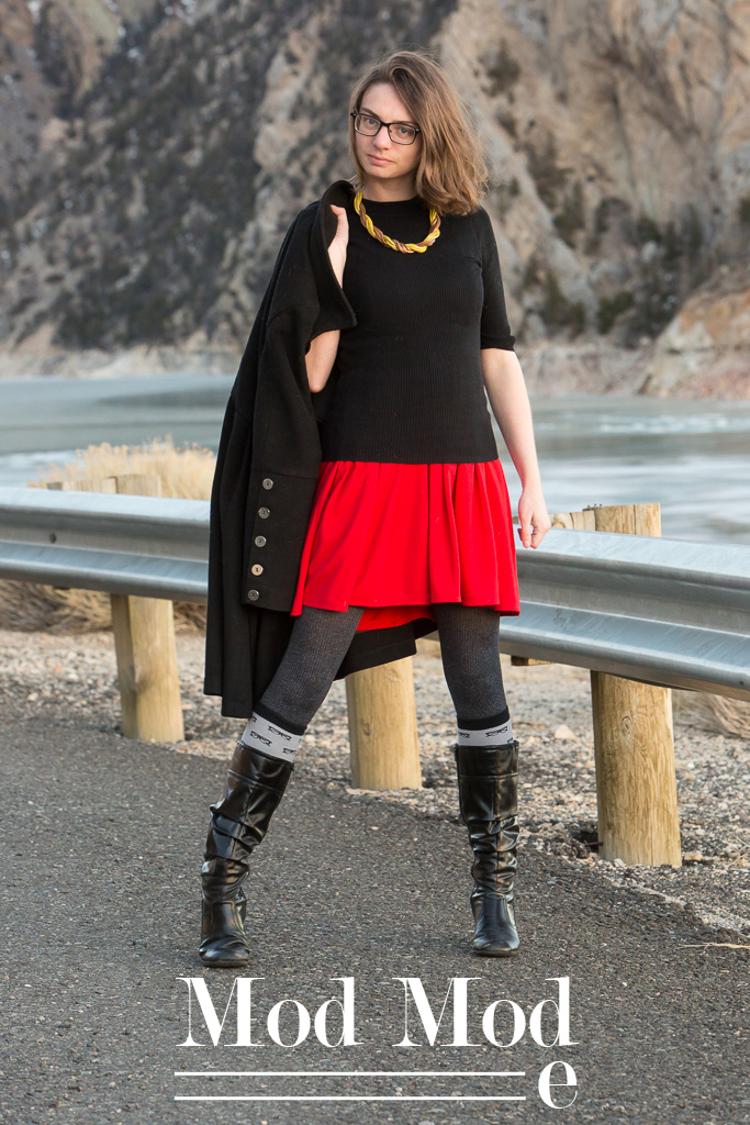 Red Skirt, Mod, Outfit, look, wardrobe, eye glasses print, glasses, black sweater, never fully dressed, withoutastyle, wyoming,