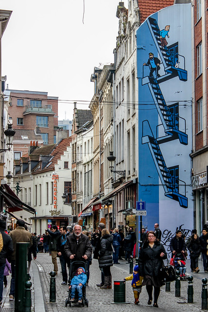 Mural de Tintín en Bruselas, capital de Bélgica