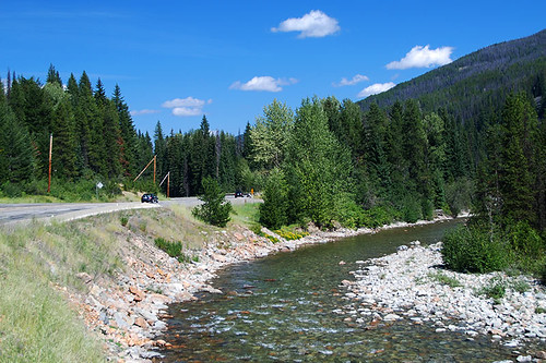 Crowsnest Highway 3 aside the Similkameen River in Manning Park, British Columbia
