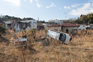 Cars Upturned by Tsunami, Downtown Tomioka