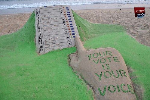 Sand art wants to aware the people about their valuable vote