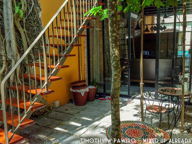 Malaysia - Penang - Spices Residence - Backyard with Bodhi trees on the left