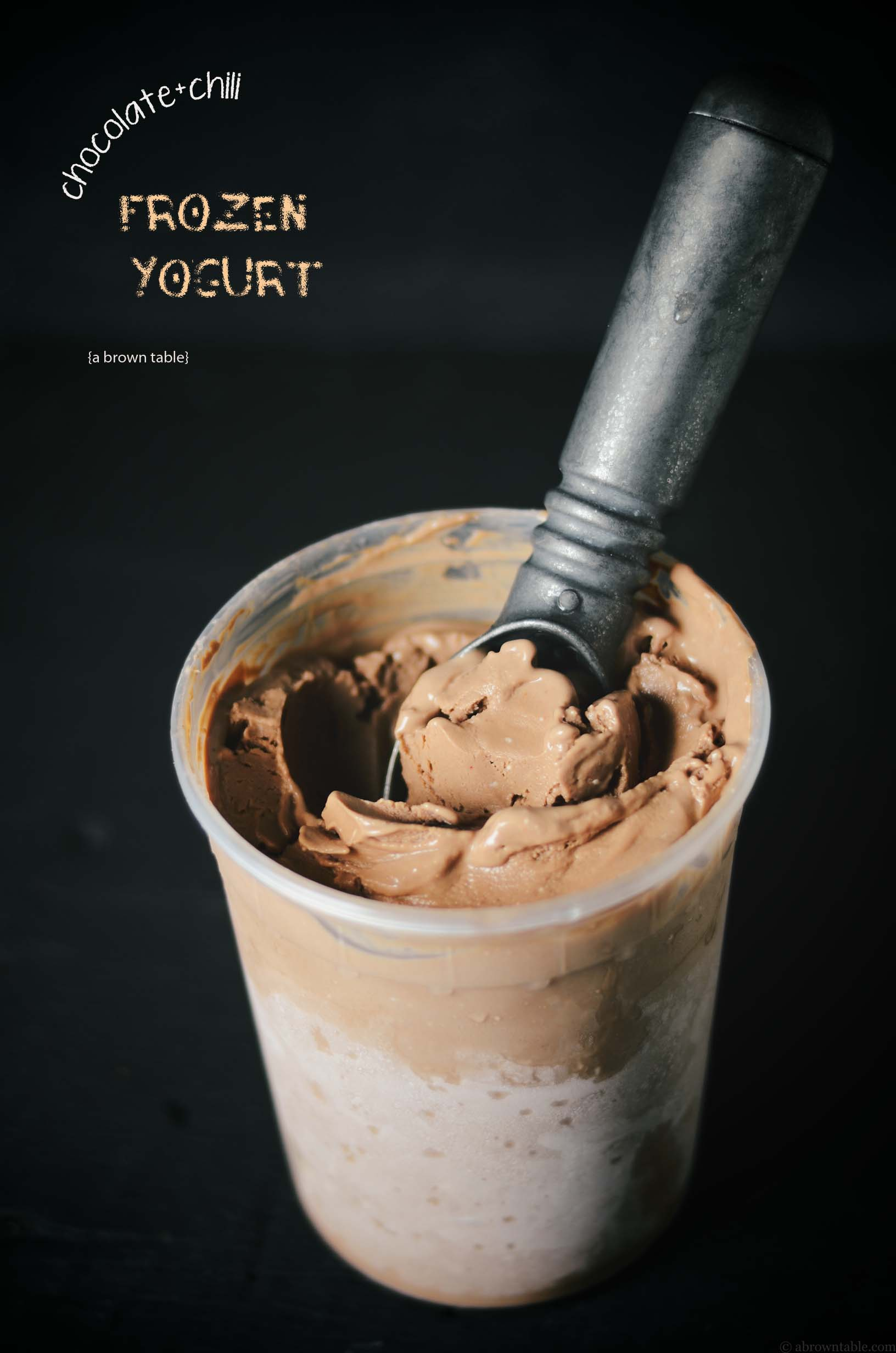 frozen chocolate with chili yogurt