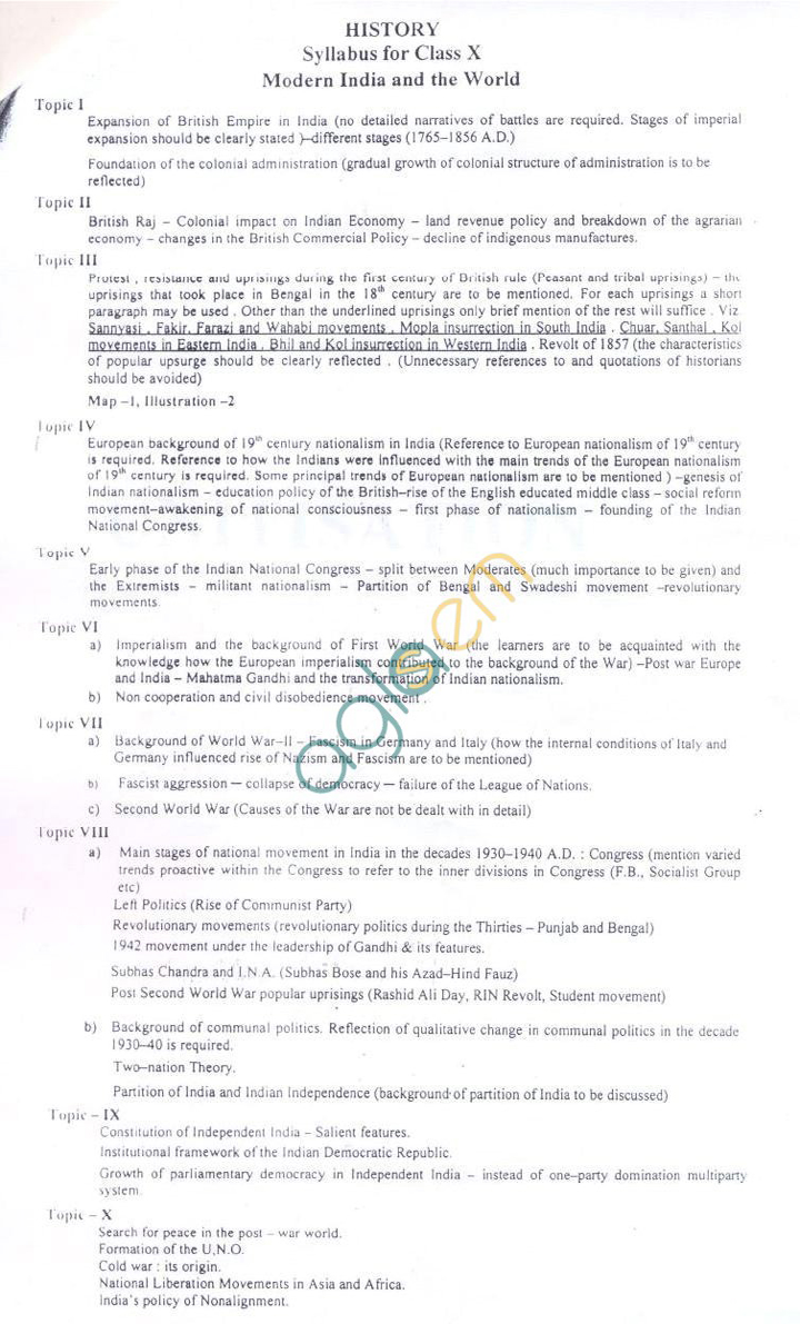 WB Board Syllabus for Madhyamik (Class 10) - History