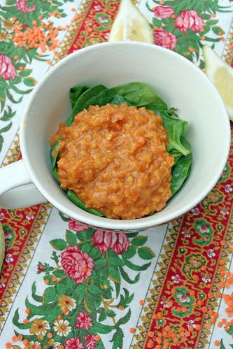 Soupe aux épinard et lentilles corail