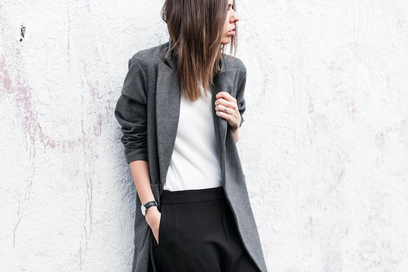 modern legacy fashion blog street style ASOS sale Oversized Grey Masculine coat Common Projects leather pool slide sandals Camilla and Marc Assent high neck top ankle zip Domain pants classic masculine (3 of 3)