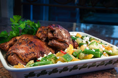 Smoked Cornish Game Hens and Garden Vegetable Sala…