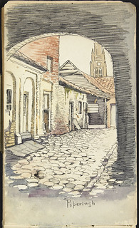 View, through an archway, of a street in Poperinghe, France [Sketchbook 10, folio 38r] / Vue, à partir d'une arcade, d'une rue de Poperingle, France [Carnet de croquis 10, folio 38r]