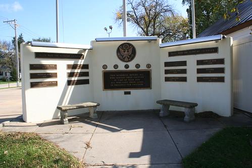 Closeup of Seneca War Memorial, Corner of Scott and Main Streets, Seneca, Illinois
