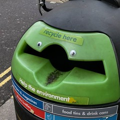 Expectant recycling bin awaits your trash. #faces #eyes #London