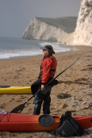 Helen on a quiet beach near Durdle Door