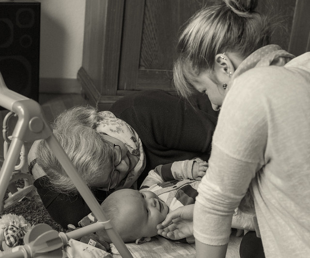 Aaron, having fun with grandma and aunt Eva