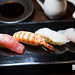 8-piece sushi platter made with local Okinawa fish - (left to right) Lean tuna (Akami Minami-maguro), prawn, Makubu (spelling?), Madai (Red sea bream)
