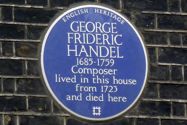English Heritage blue plaque for George Frideric Handel on 25 Brook Street, London. Photograph by Simon Harriyott
