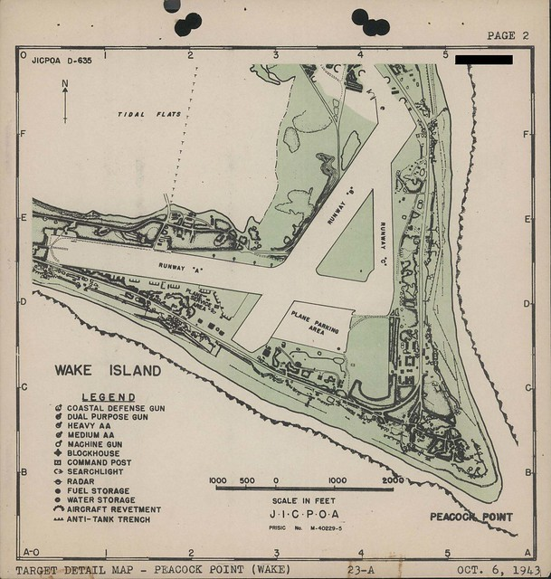 Map Of Wake Island Peacock Point Detail 6 October 1943