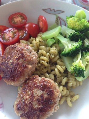 lemon garlic meatballs with pesto