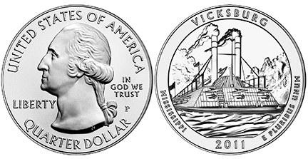 25 Centov USA 2011 Vicksburg America the Beautiful Quarter
