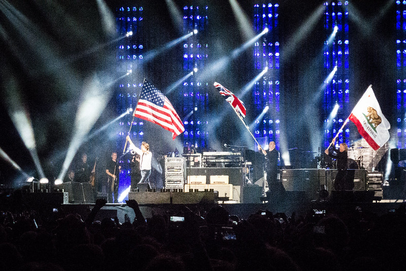 Paul McCartney Carries American Flag at Outside Lands 2013