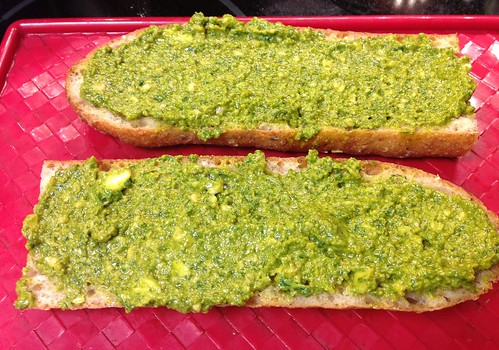 Pesto on whole grain baguette