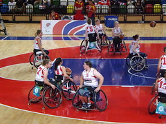wheelchair racing(0.0), wheelchair sports(1.0), disabled sports(1.0), sports(1.0), team sport(1.0), wheelchair basketball(1.0), ball game(1.0), basketball(1.0),