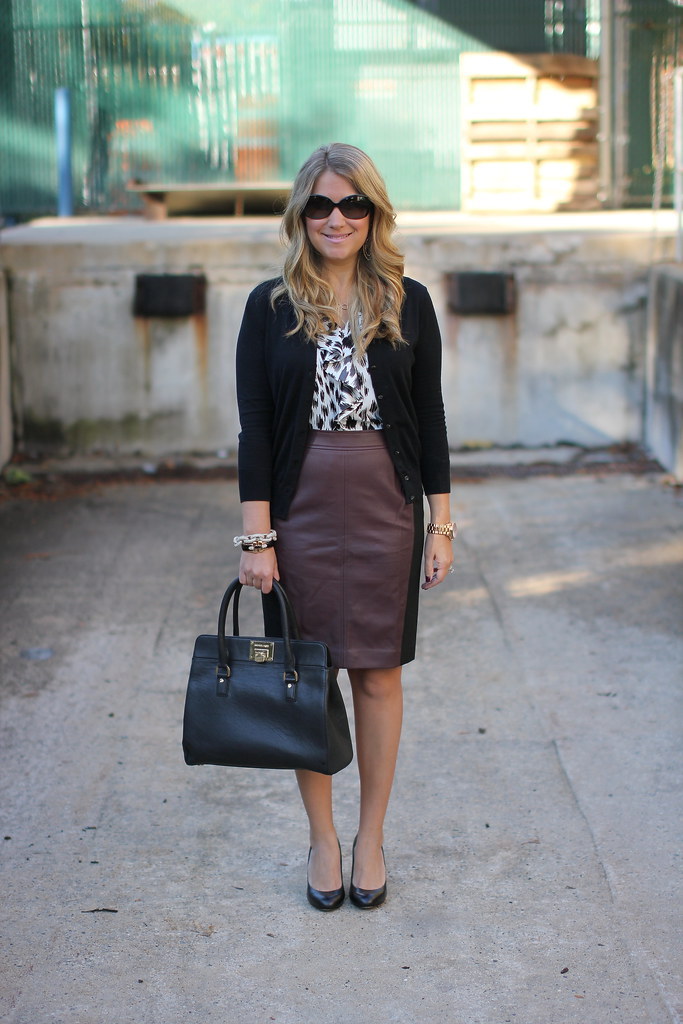 Burgundy Faux Leather Skirt: Ann Taylor Riverside Colorblocked Pencil Skirt