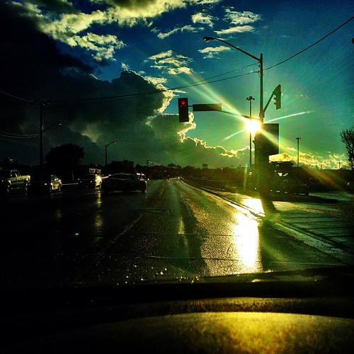 road red sun storm cars wet car rain square lights shine squareformat iphoneography instagramapp uploaded:by=instagram