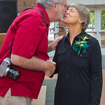 hmc017 -- School of Nursing Distinguished Alumni Award winner Joanne Miller '73 gets a kiss from her proud husband.