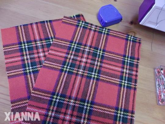 DIY plaid-blanket wrap - pockets fabric
