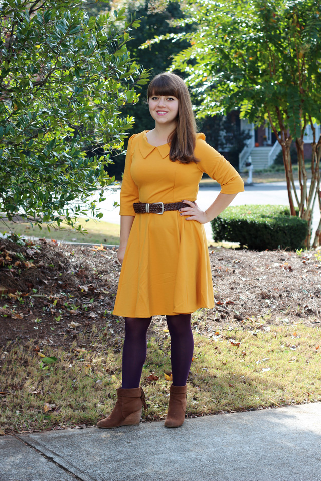 A Jeanie Outfit Mustard Oasap Dress Purple Tights