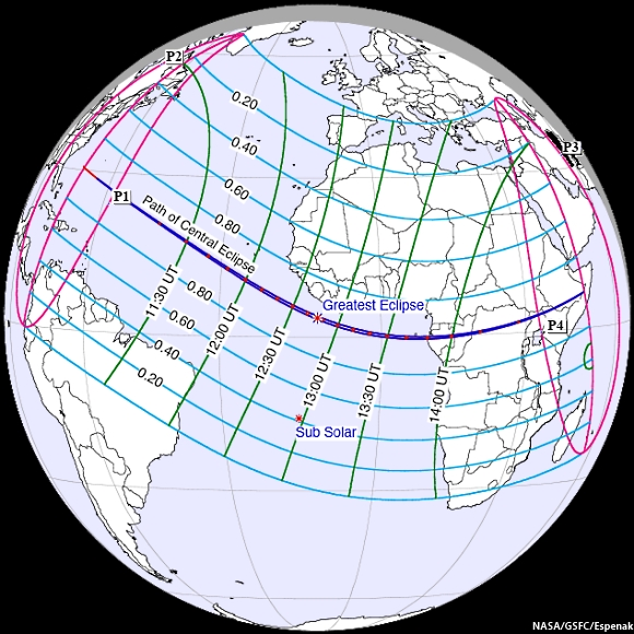 Schematic of Solar Eclipse November 3, 2013