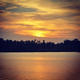 The orange sunset of Kelantan river.