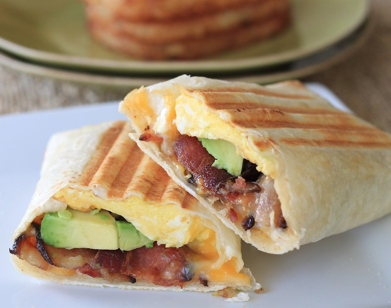 bacon, egg, and avocado breakfast burrito