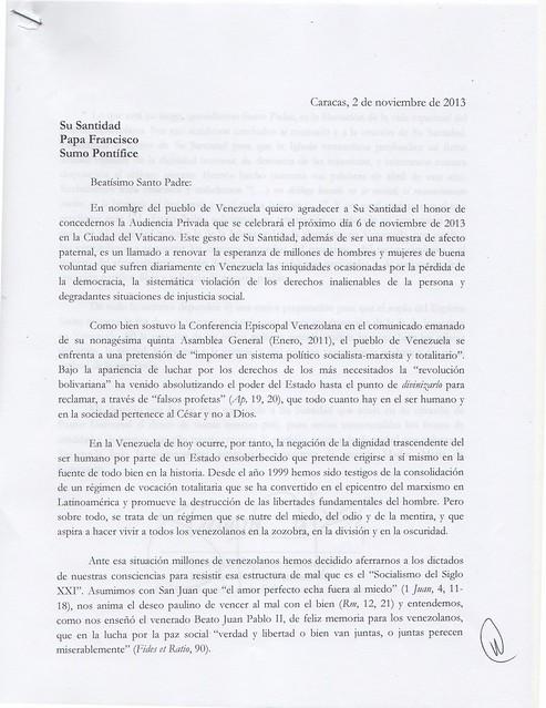 Carta a Su Santidad de Capriles 1