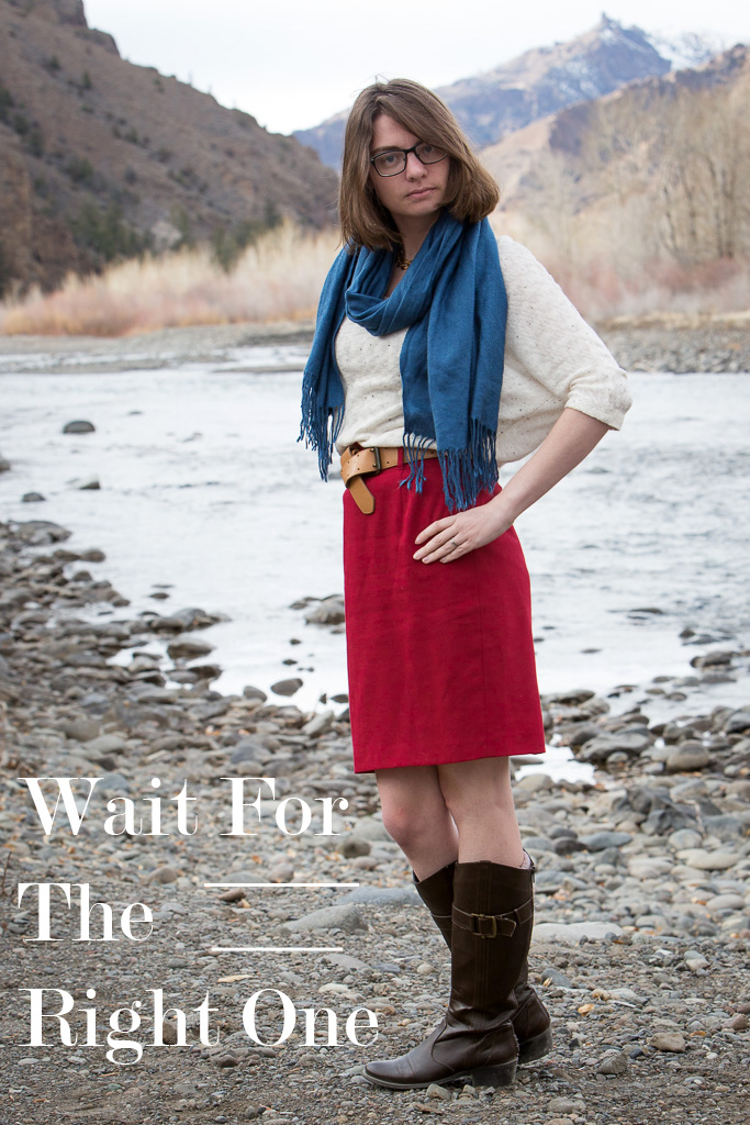 river, wyoming, red, skirt, pencil skirt, brag vintage, white sweater, november, blue, cherche scarf, scarf,