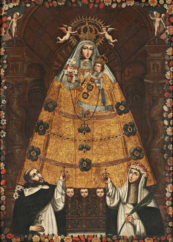 Anonymous Cusco School - Our Lady of the Rosary with Saint Dominic and Saint Rose (c.1750)