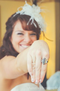Bride showing ring purchased from flea market and grandmother's wedding band