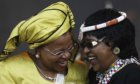 Graça Machel the current wife of Nelson Mandela and Winnie Madikizela-Mandela, his former spouse. Both were at his side when he passed on December 5, 2013. by Pan-African News Wire File Photos