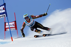 Marie-Michele flying down the hill in St. Moritz, SUI during the giant slalom