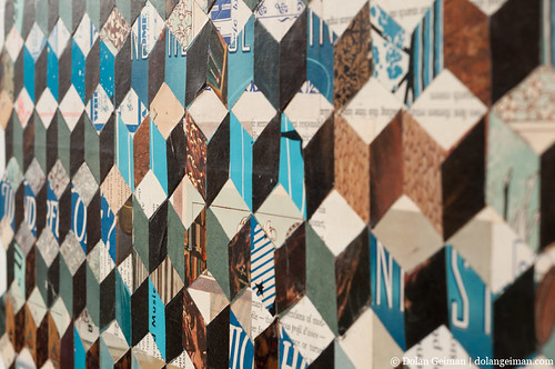 Dolan Geiman, Tumbling Block Quilt Paper Collage, Detail