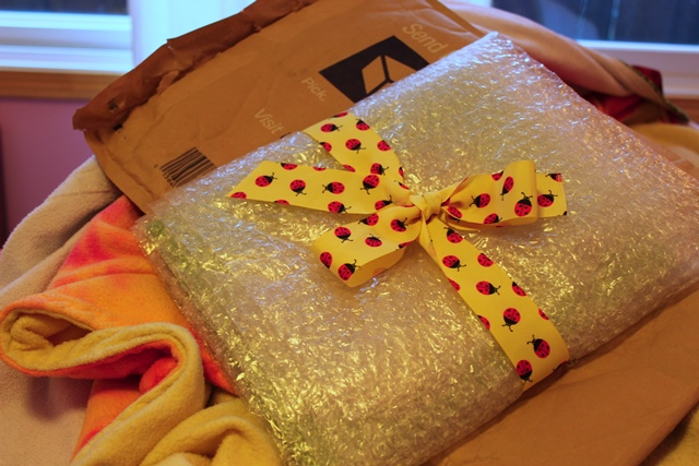 package with yellow ladybug ribbon