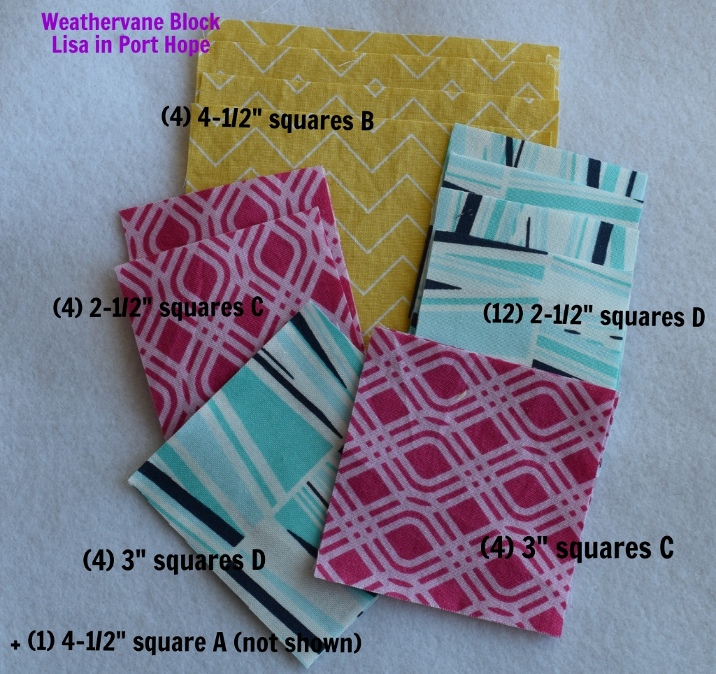 Weathervane block fabrics and cutting