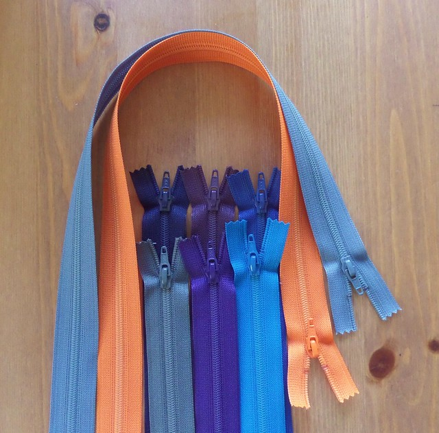 Orange and blue zips