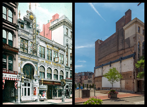 Keith's Theatre - Westminster Street.  Postcard c. 1900 and present location in 2014 by Eric Harrison, via I {heart} Rhody
