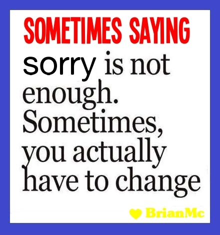 Sometimes saying sorry is not enough, quote, BrianMc