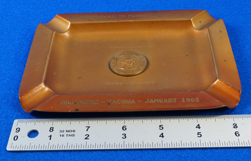 RD14480 1952 Brass Ashtray Washington State Federation of Labor Tacoma Union Made DSC06143
